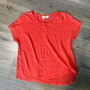 C & C California 100% Linen Coral rounded hem tee